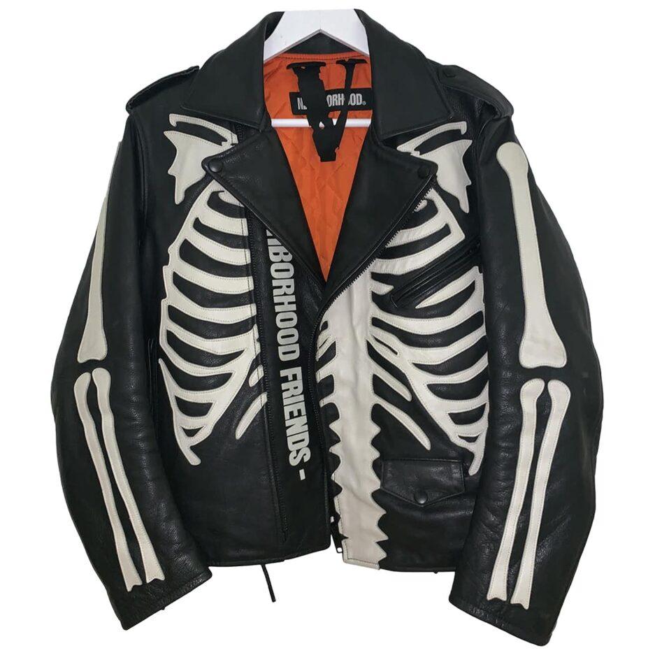 Vlone X Neighborhood Leather Jacket black