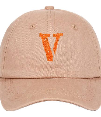 Orange Embroidery V Baby Pink Baseball Hat