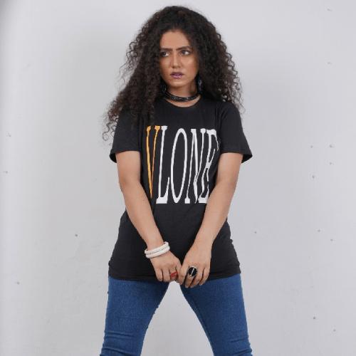 Vlone Tide Big V Letter Printing Short Sleeve T-Shirt