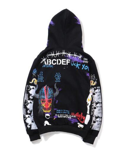 Vlone Graffiti Hip Hop Pullover Black Hoodie