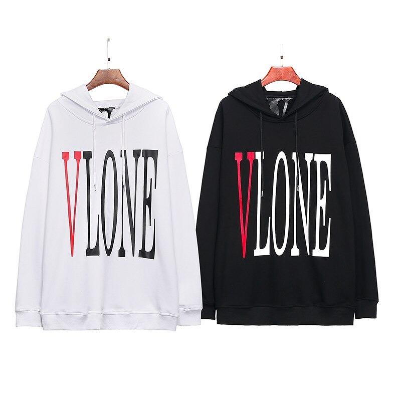 Vlone LOGO Printed Long Sleeve Black Hoodies