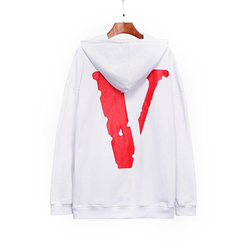 Vlone LOGO Printed Hip Hop Sleeve White Hoodies