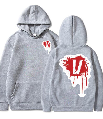 Vlone Blood V Pullover Gray Hoodie