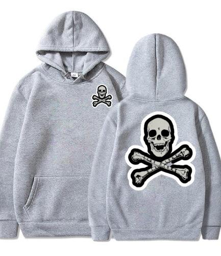 Vlone Skull And Bones Gray Hoodie