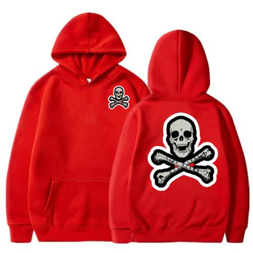 Vlone Skull And Bones Red Hoodie