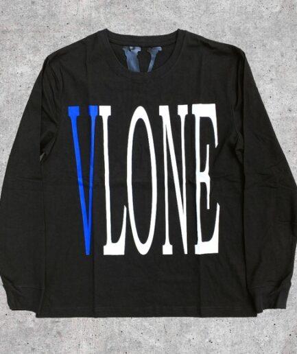 Vlone Staple Blue on Black Long Sleeve Tee