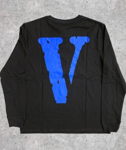 Vlone Staple Blue on Black Long Sleeve Tees