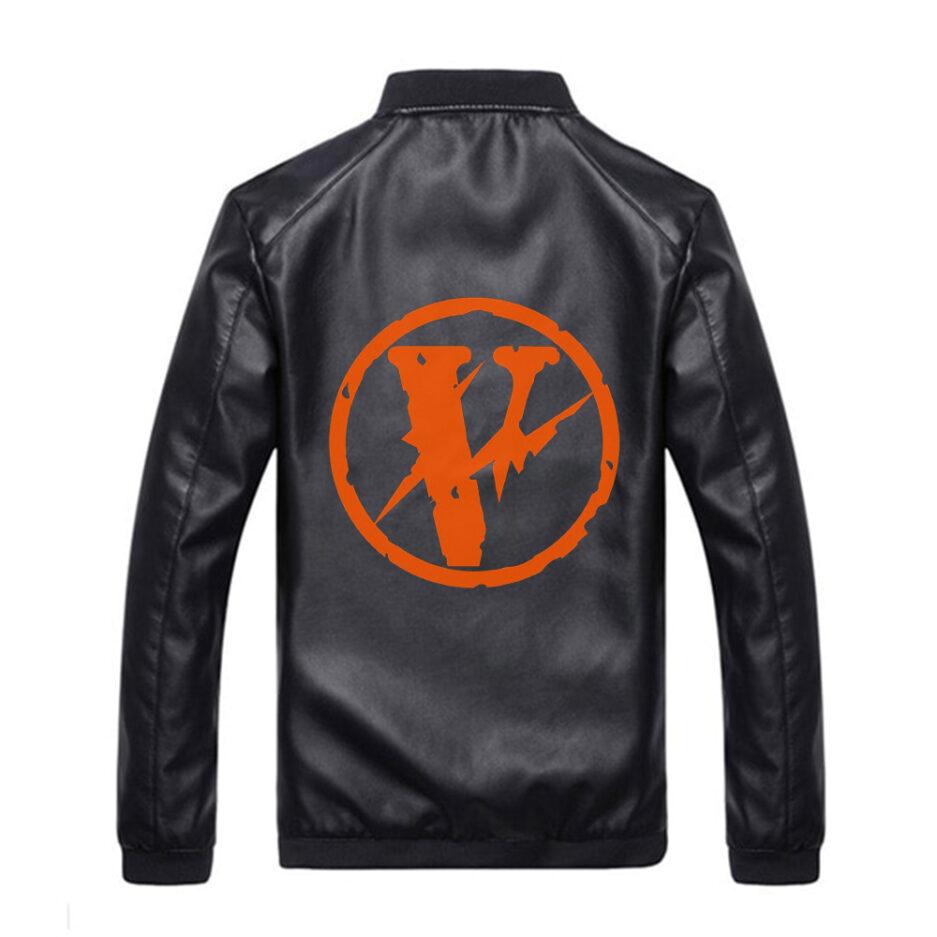 VLONE Black Leather Logo Jacket