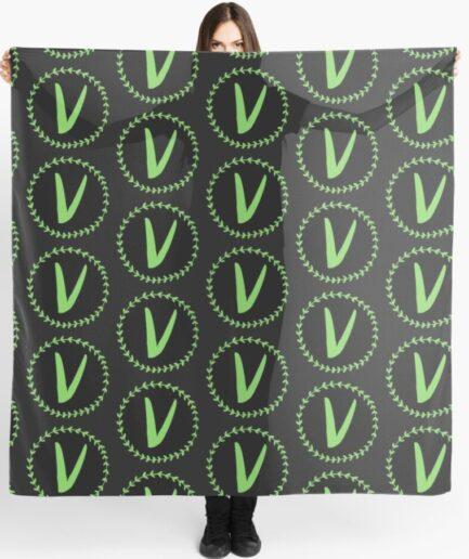 Vlone Green Logo Printed Black Scarf