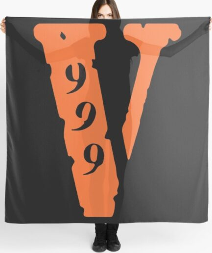 Juice Wrld X Vlone 999 V Logo Black Scarf