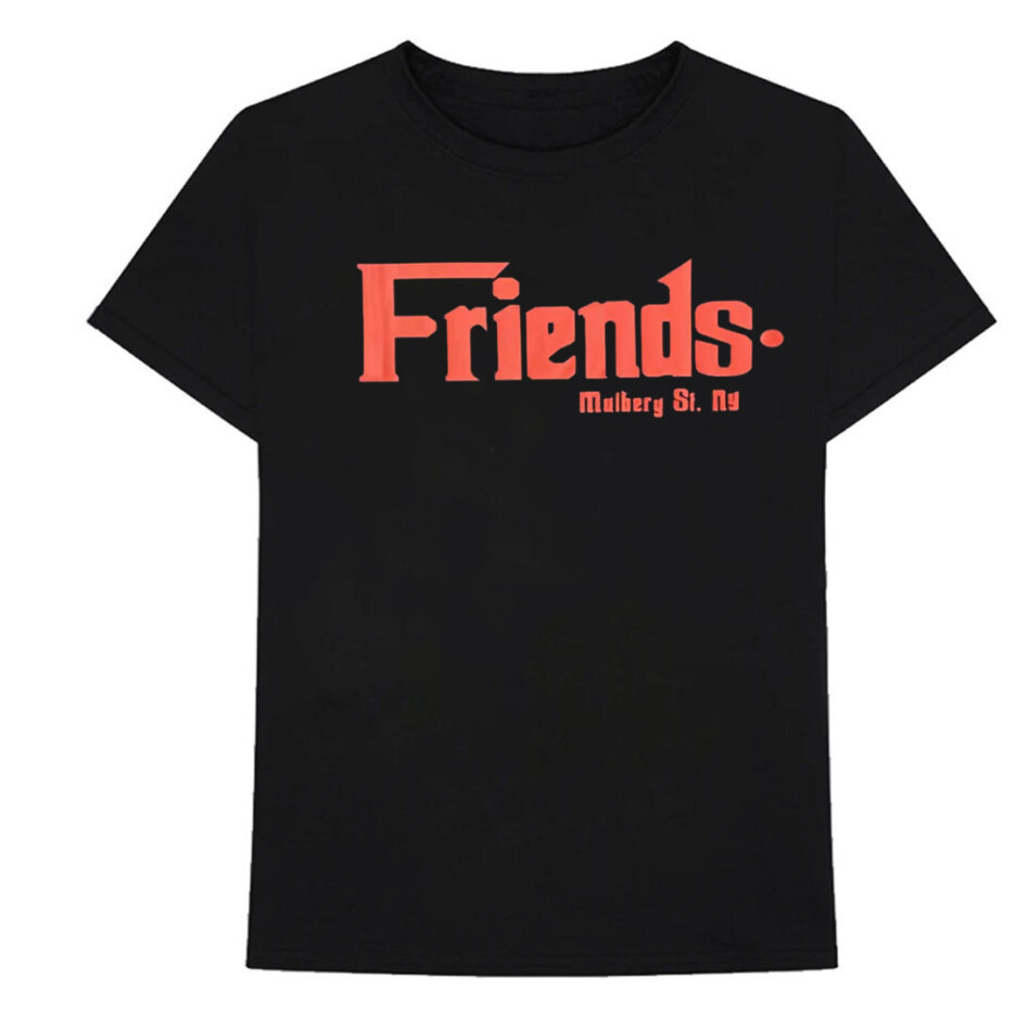 Vlone Friends Godfather Mulberry St Red Black Tee (Front)