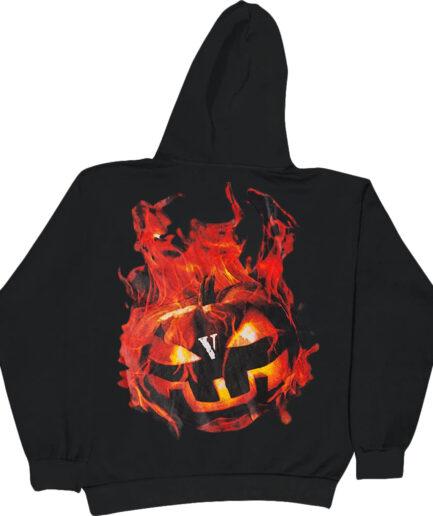 Vlone Halloween Flaming Pumpkin Hoodie - Black (Back)