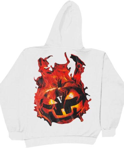 Vlone Halloween Flaming Pumpkin Hoodie - White (Back)