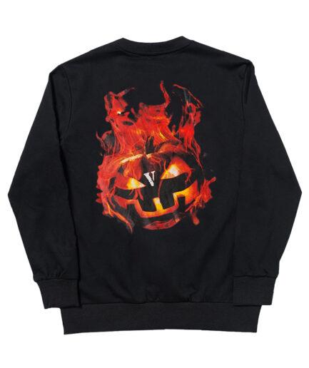 Vlone Halloween Flaming Pumpkin Sweatshirt - Black (Back)