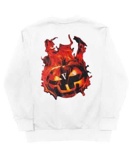 Vlone Halloween Flaming Pumpkin Sweatshirt - White (Back)