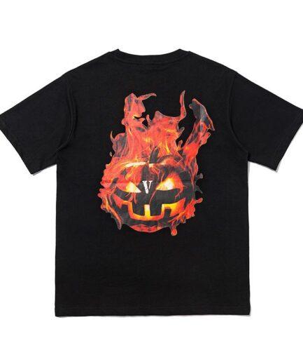 Vlone Halloween Flaming Pumpkin Tee - Black (Back)