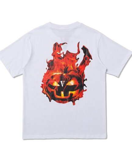 Vlone Halloween Flaming Pumpkin Tee - White (Back)