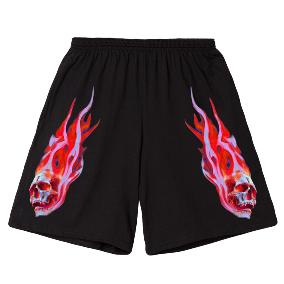 Vlone Skully Red Flame Shorts - Black (Front)
