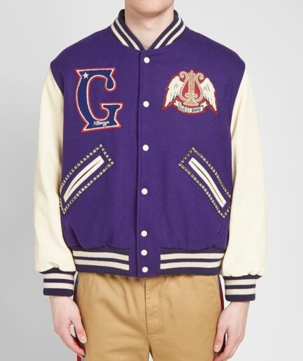 Gucci Band Varsity Jacket - Purple (Front 2)