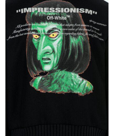 Off-White Diag 'Green Man' Wool Blend Varsity Jacket - Black (Detail 1)