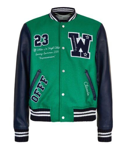 Off-White Eagle Logo Leather Sleeve Varsity Jacket (Front)