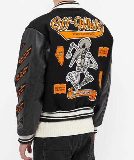 Off-White Leather Varsity Jacket - Black (Back)
