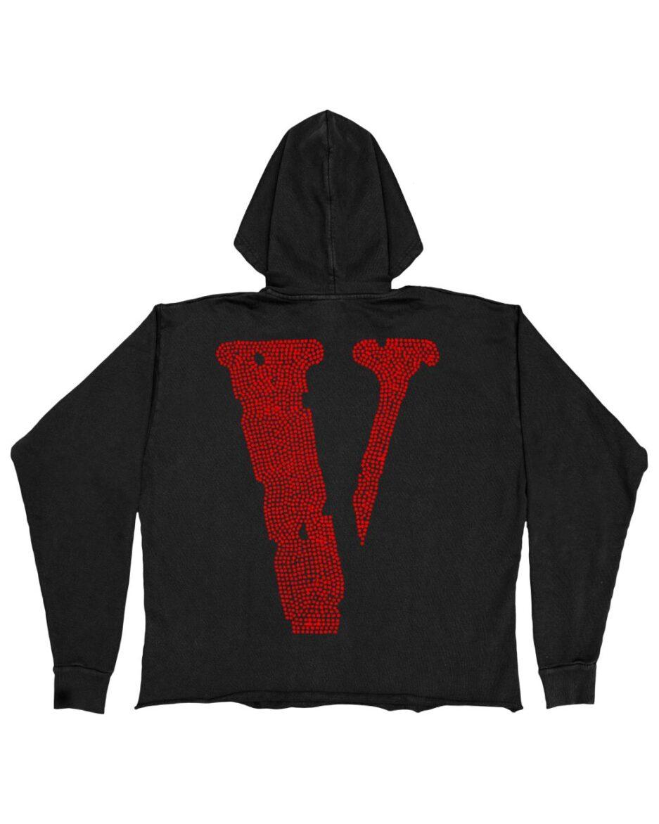 Vlone Staple Red Rhinestone Hoodie - Black (Back)