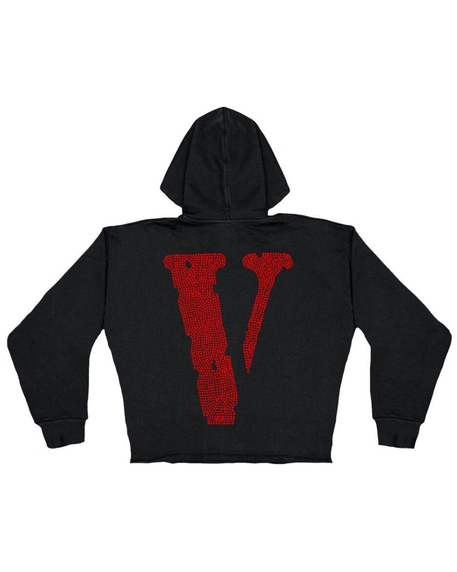 Vlone Staple Red Rhinestone Hoodie - Black (KIDS) Back