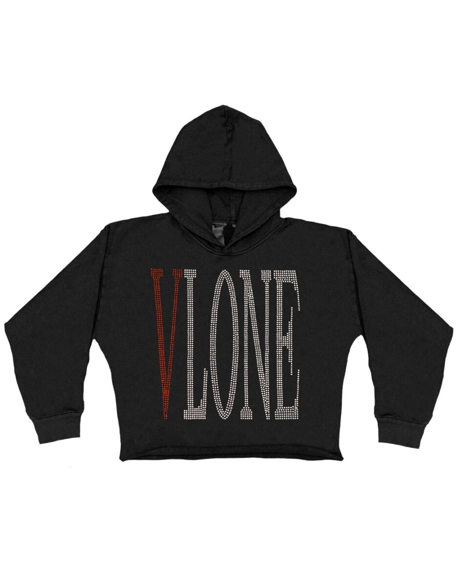 Vlone Staple Red Rhinestone Hoodie - Black (KIDS) Front