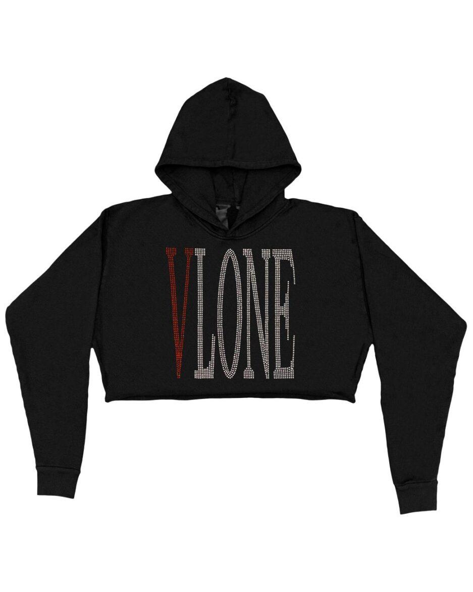 Vlone Staple Red Rhinestone Hoodie - Black (WOMENS) Front