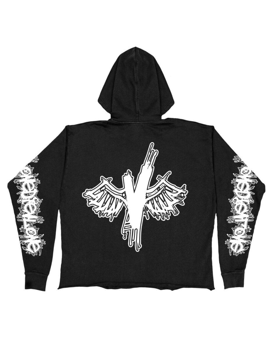 Vlone Wings White Hoodie - Black (Back)